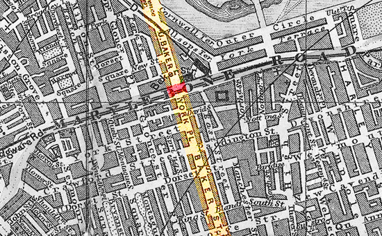 Map of 221 Baker St. London, circa 1890